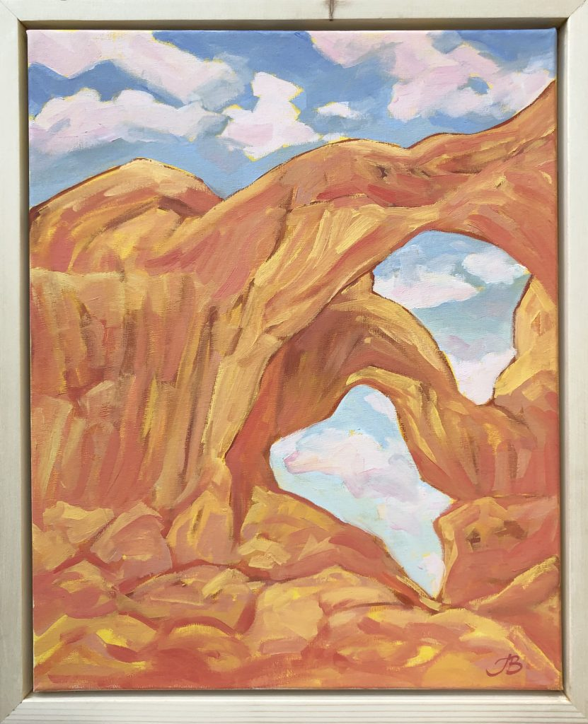 Double Arch in Clouds - Julia Buckwalter painting. Moab, Utah.